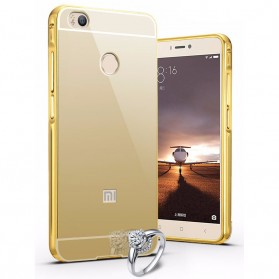 Aluminium Bumper with Mirror Back Cover for Xiaomi Mi4s - Golden