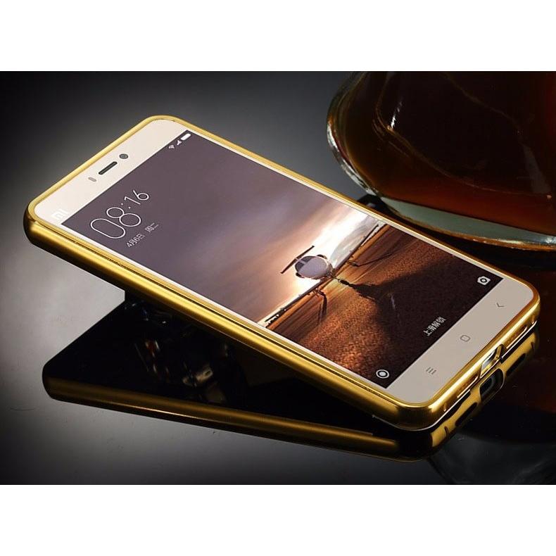 ... Aluminium Bumper with Mirror Back Cover for Xiaomi Mi4s - Golden - 3 ...