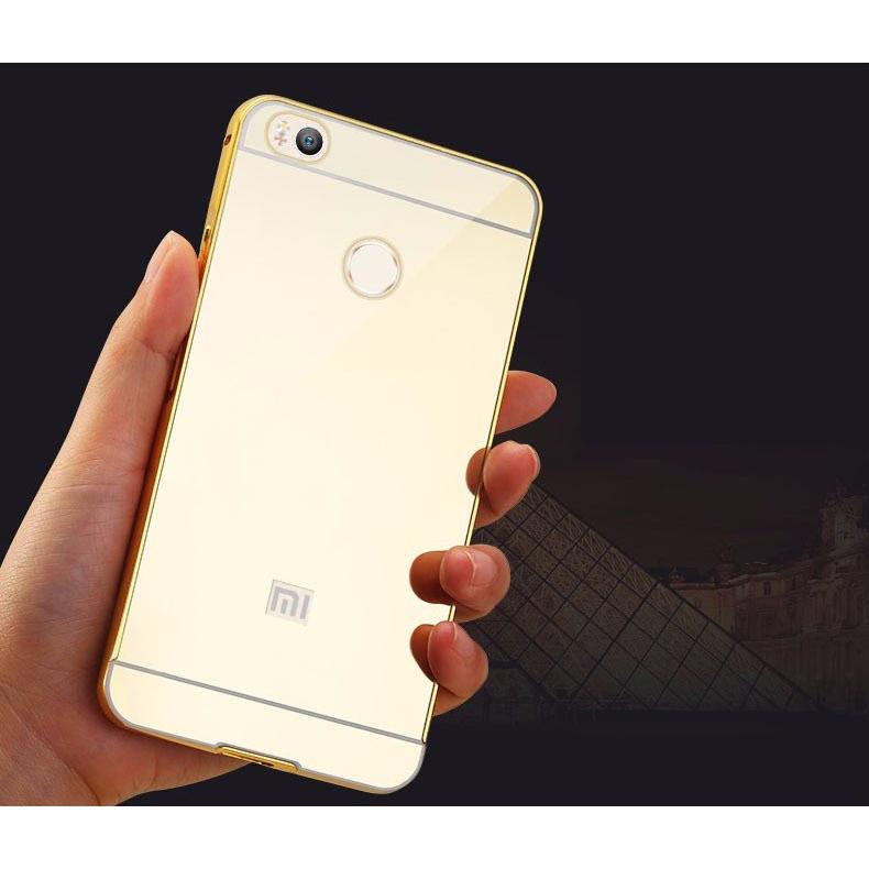 ... Aluminium Bumper with Mirror Back Cover for Xiaomi Mi4s - Golden - 4 ...