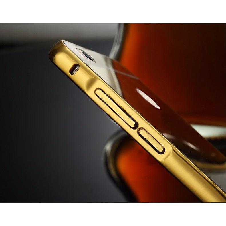 Aluminium Bumper with Mirror Back Cover for Xiaomi Mi4s - Golden - 5 .