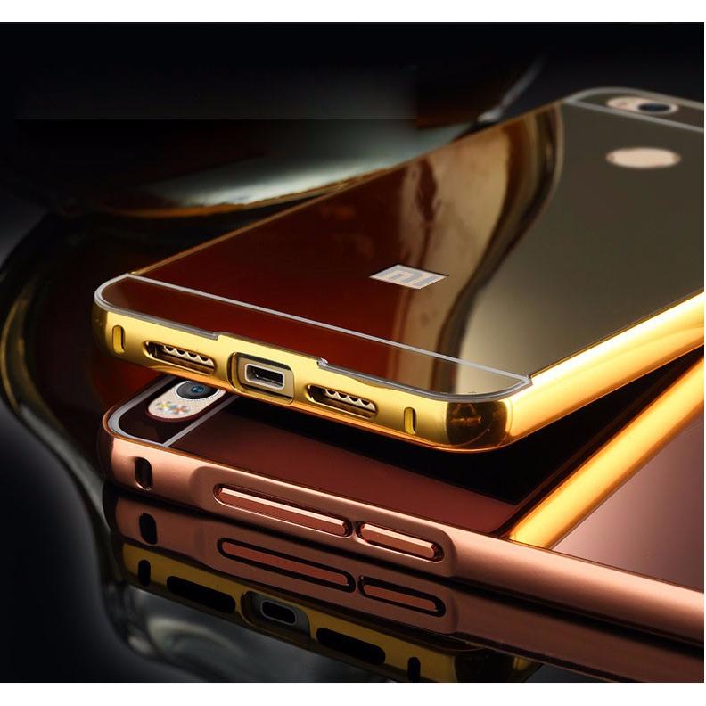 ... Aluminium Bumper with Mirror Back Cover for Xiaomi Mi4s - Golden - 6 ...