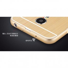 Aluminium Bumper with Wire Drawing Back Cover for Meizu Pro5 - Golden - 4
