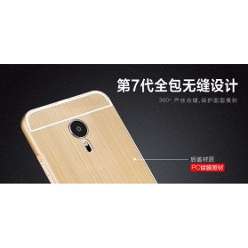 Aluminium Bumper with Wire Drawing Back Cover for Meizu Pro5 - Golden - 6