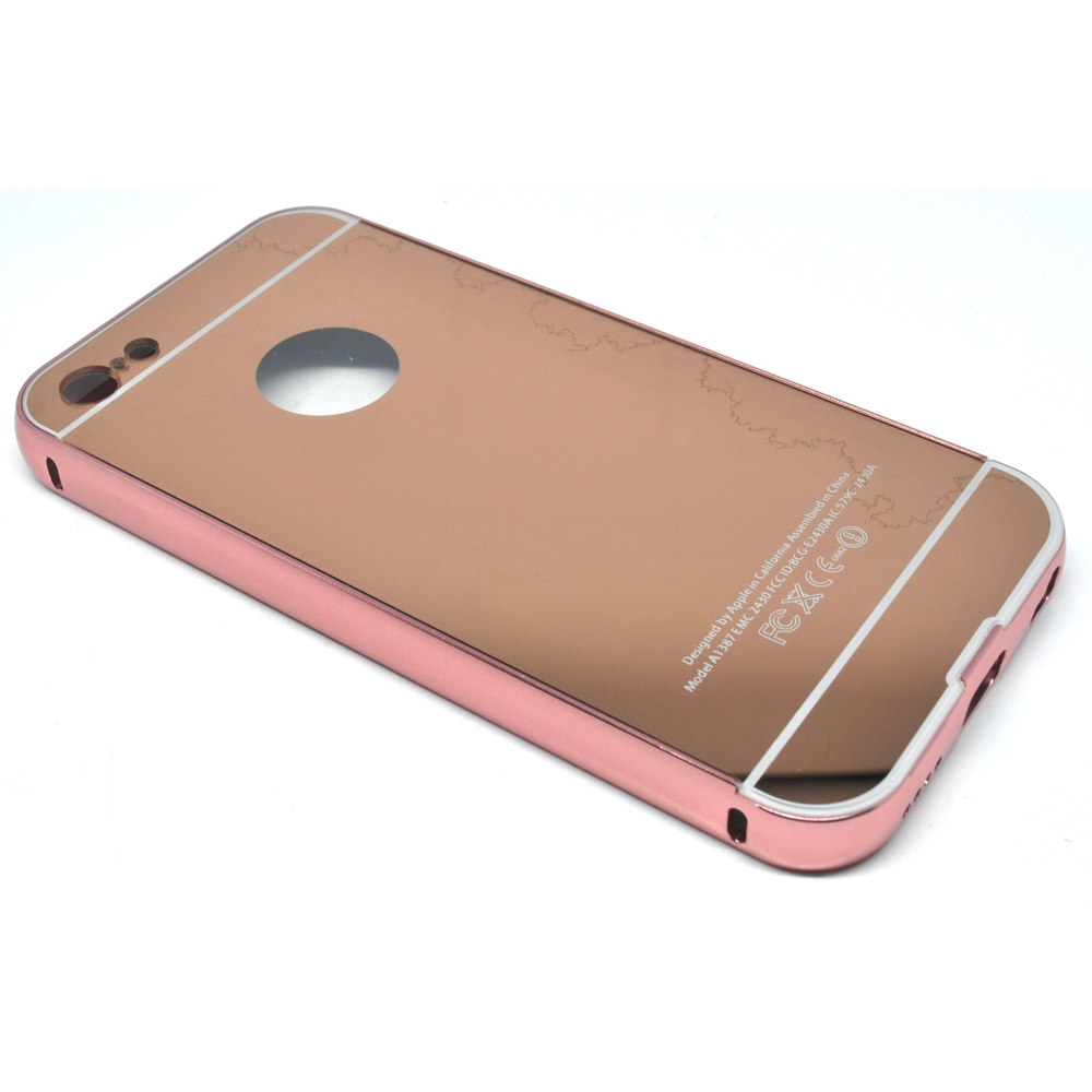 aluminium bumper with mirror back cover for iphone 5c rose gold. Black Bedroom Furniture Sets. Home Design Ideas
