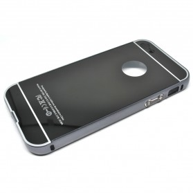 Aluminium Bumper with Mirror Back Cover for iPhone 5c - Black
