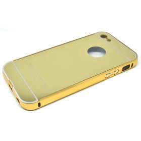 Aluminium Bumper with Mirror Back Cover for iPhone 5c - Golden