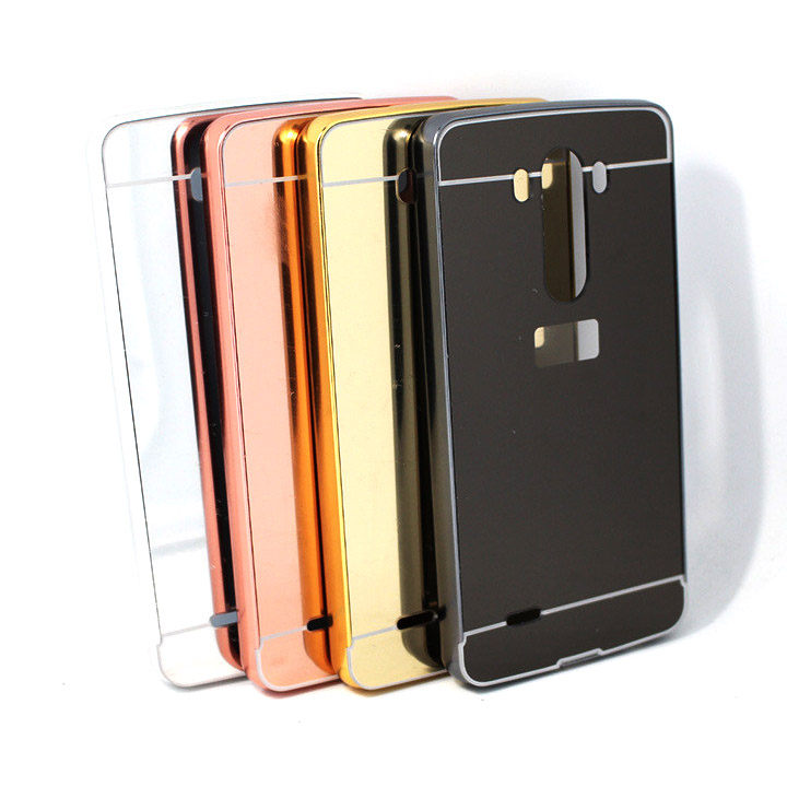 Aluminium Bumper with Mirror Back Cover for LG G3 - Black - 6 ...