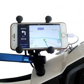 X-Grip Holder Motor Smartphone dengan USB 12V 2A - 006 - Black
