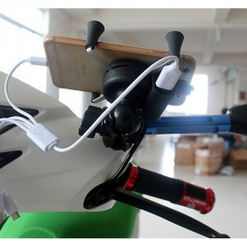 X-Grip Holder Motor Smartphone dengan USB 12V 2A - 006 - Black - 2