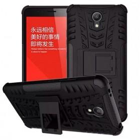 TPU + PC Anti Knock Hard Armor Style Protector Case Cover For Xiaomi Redmi Note 2 - Black - 2