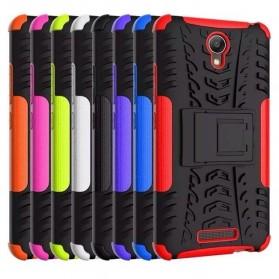 TPU + PC Anti Knock Hard Armor Style Protector Case Cover For Xiaomi Redmi Note 2 - Black - 7