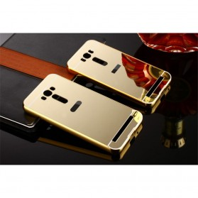 Aluminium Bumper with Mirror Back Cover for Asus Zenfone 2 Laser 5.5 Inch - Golden