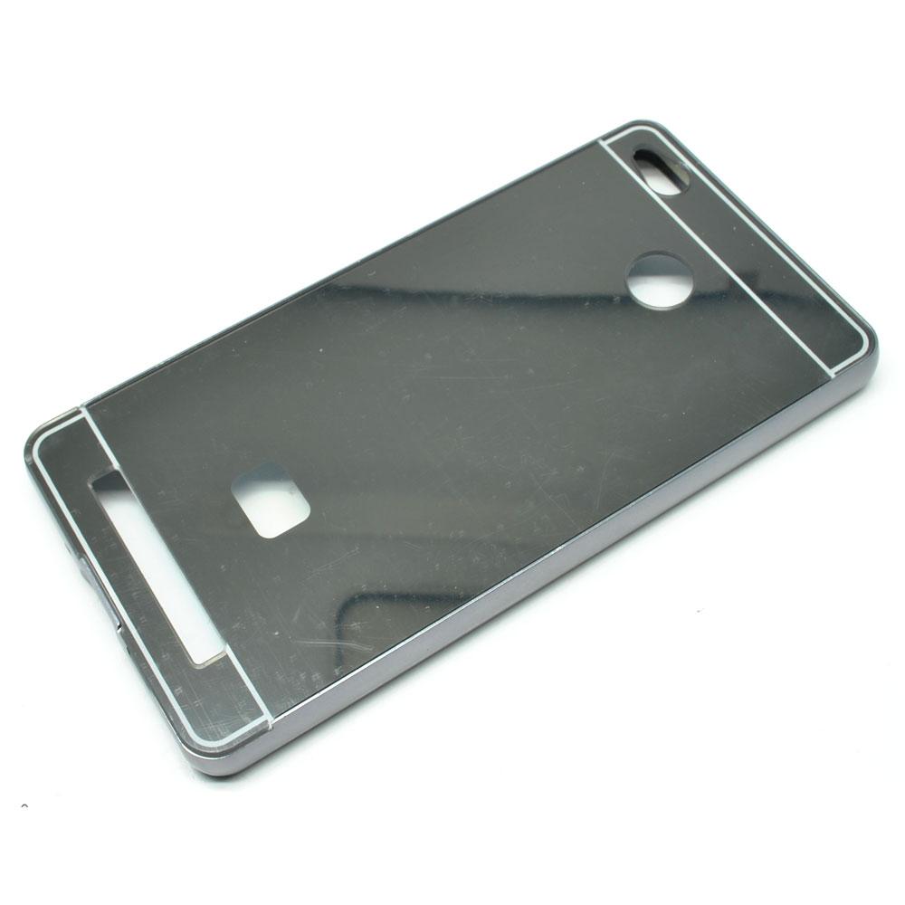 Aluminium Bumper With Mirror Back Cover For Xiaomi Redmi 3 Pro Black 1