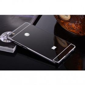 Aluminium Bumper with Mirror Back Cover for Xiaomi Mi Max - Black