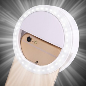 Selfie Spotlight LED Flash Lamp Phone Ring - White - 2
