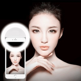 Selfie Spotlight LED Flash Lamp Phone Ring - White - 6