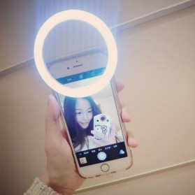 Selfie Spotlight LED Flash Lamp Phone Ring - White - 7