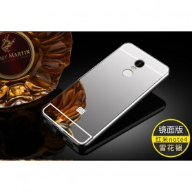 Aluminium Bumper with Mirror Back Cover for Xiaomi Redmi Note 4 - Silver