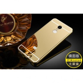 Aluminium Bumper with Mirror Back Cover for Xiaomi Redmi Note 4 - Golden