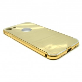 Aluminium Bumper with Mirror Back Cover for iPhone 7/8 - Golden - 2