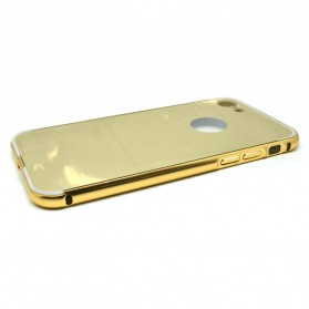 Aluminium Bumper with Mirror Back Cover for iPhone 7/8 - Golden - 3