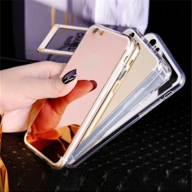 Aluminium Bumper with Mirror Back Cover for iPhone 7/8 - Golden - 6