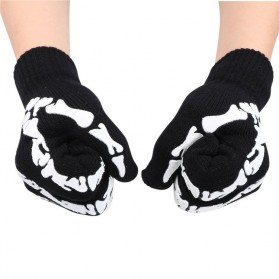 Sarung Tangan Touch Glove Skull Skeleton Design for Smartphone - Black - 3