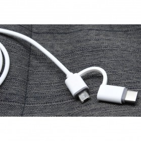 Kabel Data 2 in 1 USB Type C & Micro USB - US142 - White - 3