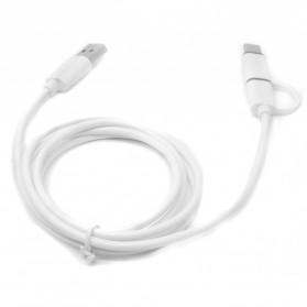 Kabel Data 2 in 1 USB Type C & Micro USB - US142 - White - 5
