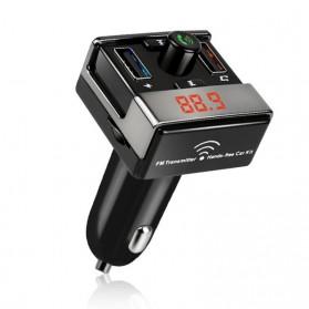 Bluetooth FM Transmitter Handsfree dengan 2 USB Car Charger - A7 - Black - 2