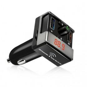Bluetooth FM Transmitter Handsfree dengan 2 USB Car Charger - A7 - Black - 4