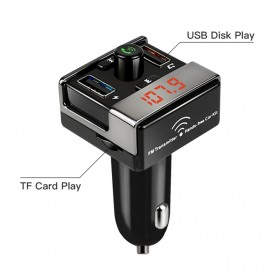 Bluetooth FM Transmitter Handsfree dengan 2 USB Car Charger - A7 - Black - 5