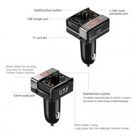 Bluetooth FM Transmitter Handsfree dengan 2 USB Car Charger - A7 - Black - 7