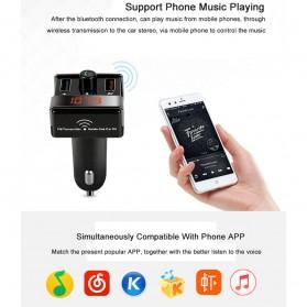 Bluetooth FM Transmitter Handsfree dengan 2 USB Car Charger - A7 - Black - 8