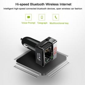 Bluetooth FM Transmitter Handsfree dengan 2 USB Car Charger - A7 - Black - 9