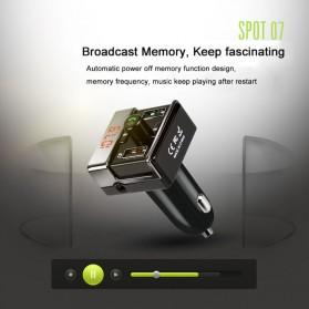 Bluetooth FM Transmitter Handsfree dengan 2 USB Car Charger - A7 - Black - 10