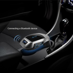 KORSEED 2 in 1 Bluetooth Car FM Transmitters with USB Charging - X5 - Silver - 2