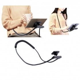 Lazypod Leher dan Pinggang Smartphone Stand Holder - Black
