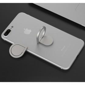 Metal iRing Smartphone Holder Desain Tear Drop - 170908 - Silver
