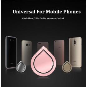 Metal iRing Smartphone Holder Desain Tear Drop - 170908 - Black - 6