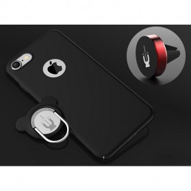 Hardcase 3 in 1 Magnetic iRing & Car Air Vent Holder for iPhone 7/8 - Black