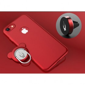 Hardcase 3 in 1 Magnetic iRing & Car Air Vent Holder for iPhone 7/8 - Red
