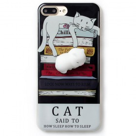 Case Squishy Book Pile Cat for iPhone 7/8