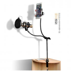 Microphone Stand Flexible Lazypod with Smartphone Holder - D12 - Black