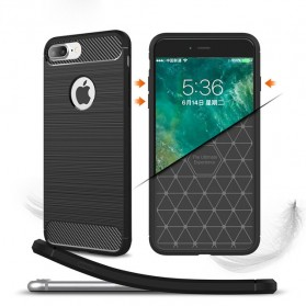 TPU Silicone Case Carbon Fiber for iPhone 7/8 Plus - Black