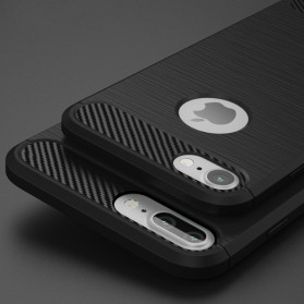 TPU Silicone Case Carbon Fiber for iPhone 7/8 Plus - Black - 4