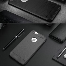 TPU Silicone Case Carbon Fiber for iPhone 7/8 Plus - Black - 6