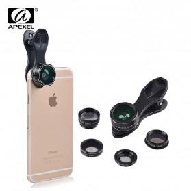 APEXEL 5 in 1 Lensa CPL Fisheye Macro Telephoto Wide Angle Lens - APL-DG5N - Black - 2