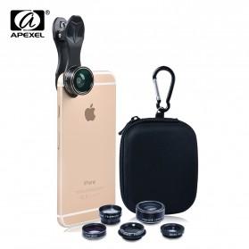 APEXEL 5 in 1 Lensa CPL Fisheye Macro Telephoto Wide Angle Lens - APL-DG5N - Black - 3