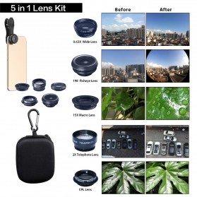 APEXEL 5 in 1 Lensa CPL Fisheye Macro Telephoto Wide Angle Lens - APL-DG5N - Black - 6